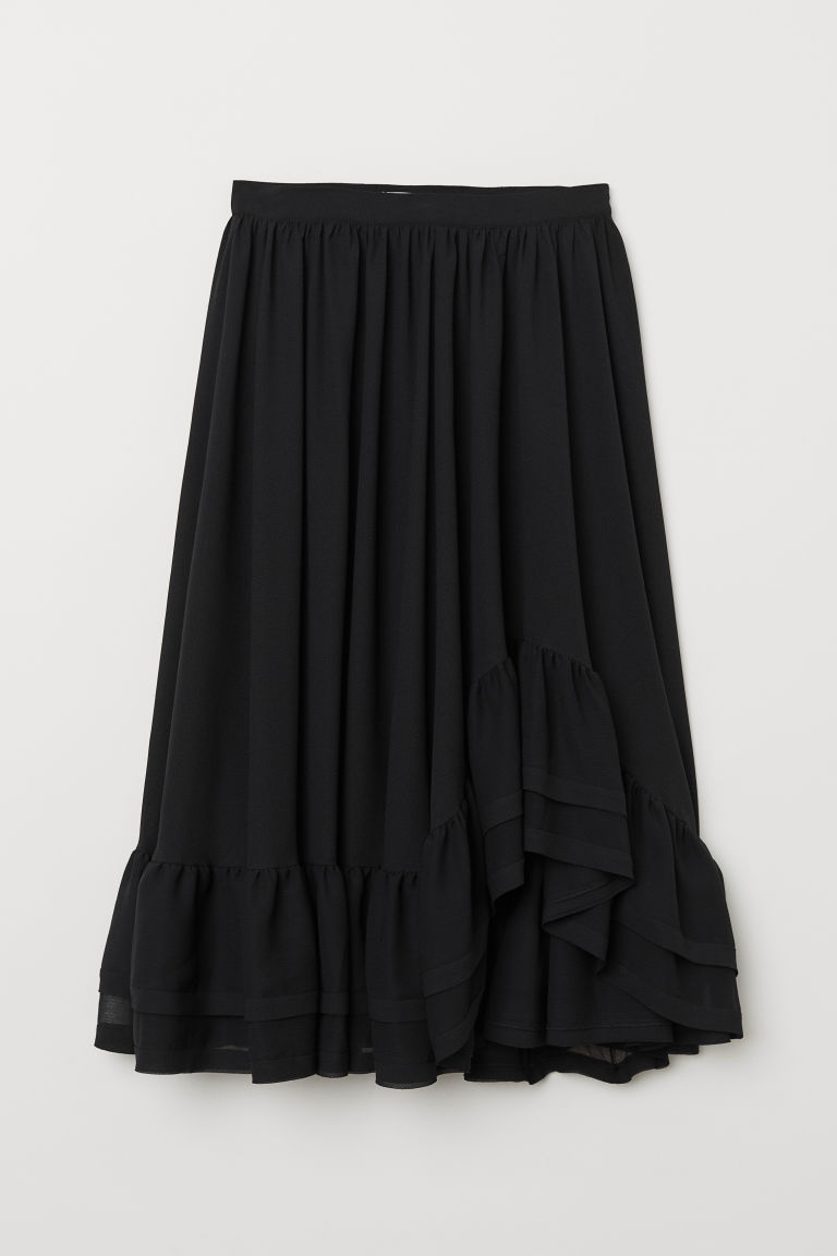 Calf-length flounced skirt - Black - Ladies | H&M