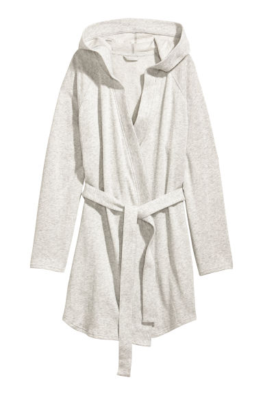 Hooded dressing gown - Light grey marl - Ladies | H&M