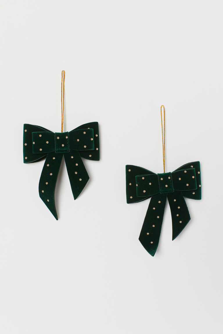 Décorations de Noël, lot de 2 - Vert foncé - Home All | H&M FR