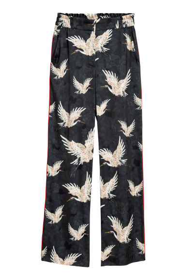 Patterned trousers - Black/Birds -  | H&M