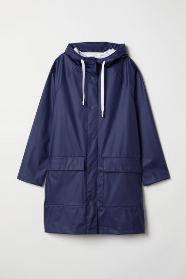 Hooded rain jacket - Dark blue - Ladies | H&M CN