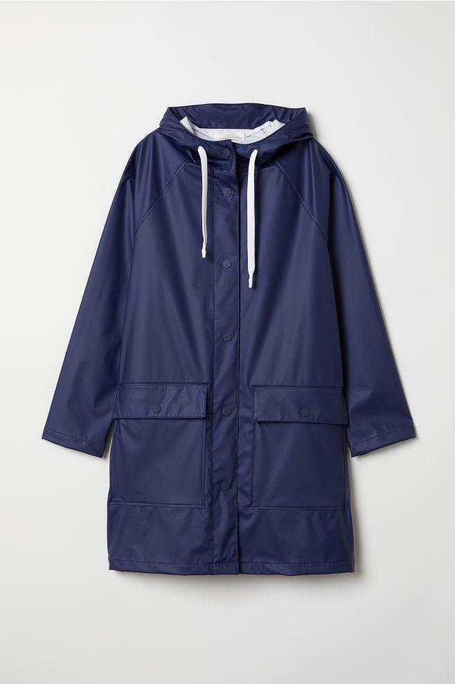 4d311c3b Regnjakke med hette - Mørk blå - DAME | H&M ...