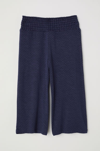 Viscose trousers with smocking - Dark blue/White spotted - Kids | H&M CN