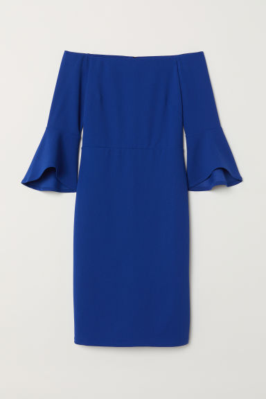Off-the-shoulder dress - Blue - Ladies | H&M CN