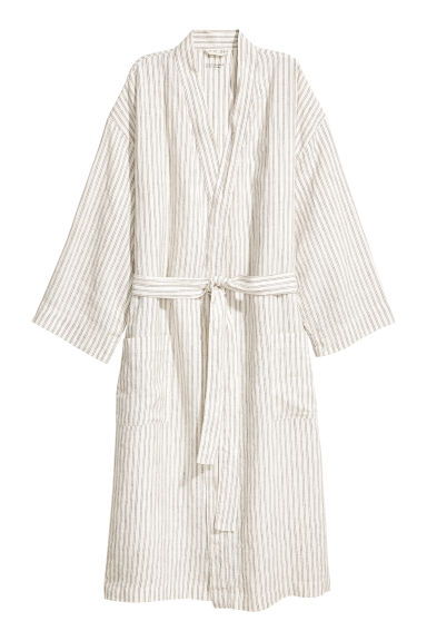 Washed linen dressing gown - Natural white/Grey striped - Ladies | H&M IE