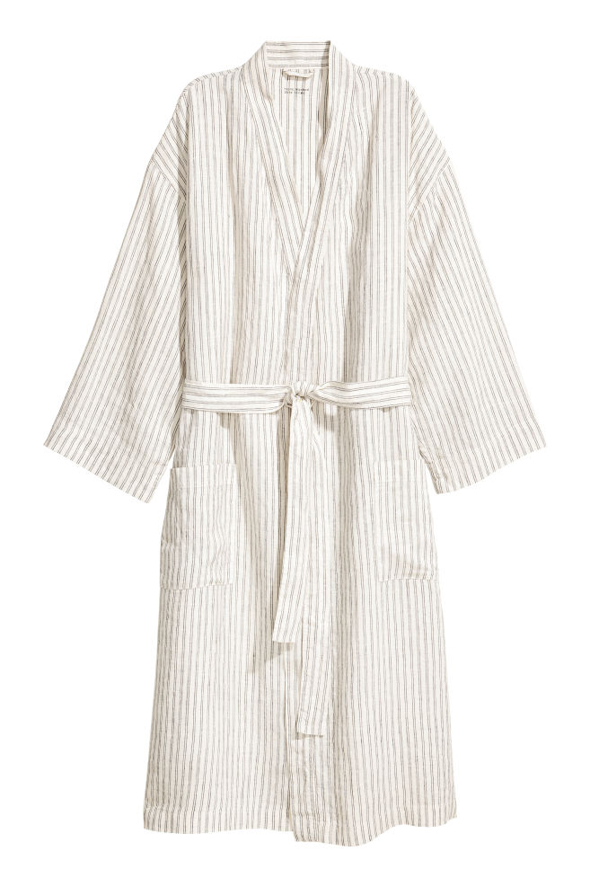 Washed linen dressing gown - Natural white/Grey striped - | H&M IE