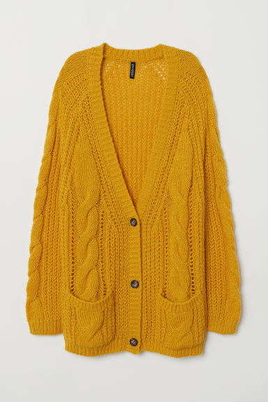Cable-knit cardigan - Mustard yellow -  | H&M