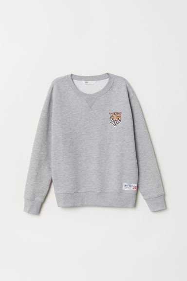 Sweatshirt - Light grey marl/Tiger - Ladies | H&M CN