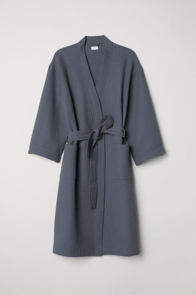 Waffled dressing gown - Dark grey - Home All | H&M IE