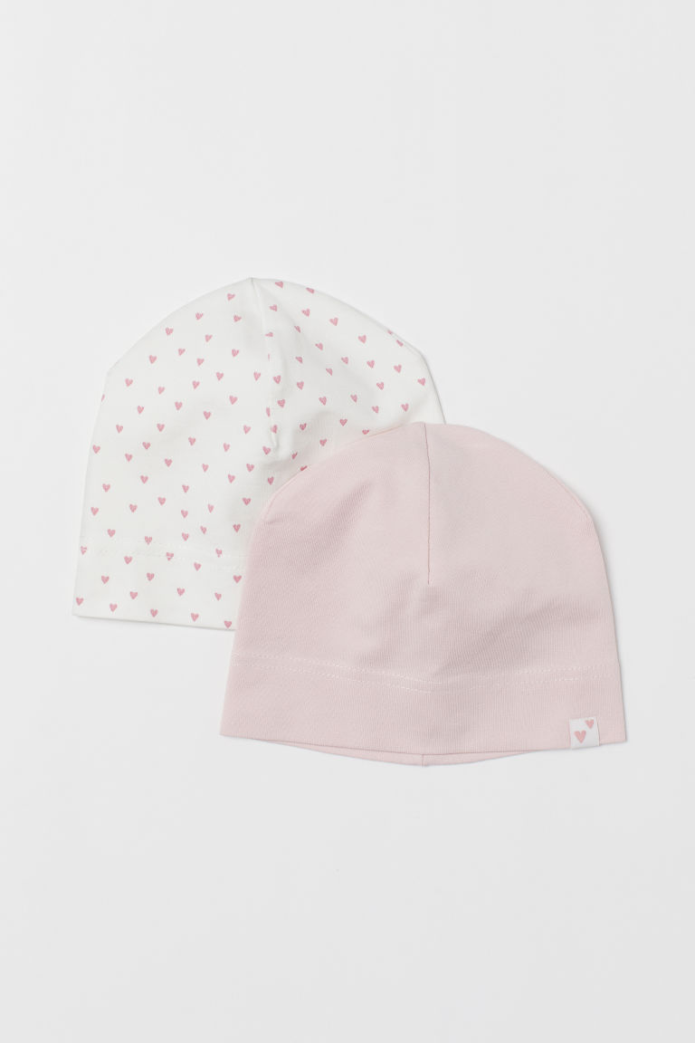 2-pack Jersey Hats - Light pink/hearts - Kids | H&M US