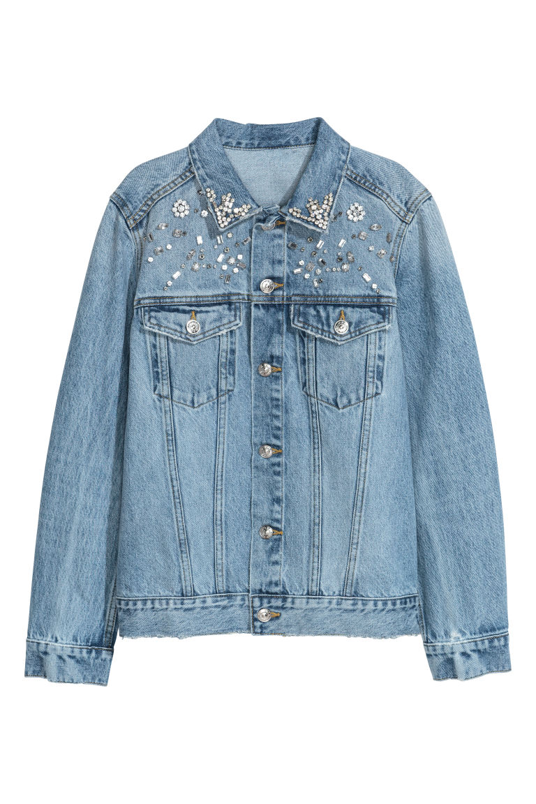 Denim jacket with sparkles - Light denim/Sparkly stones - Ladies | H&M