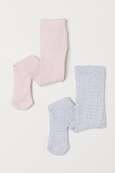 2-pack tights - Powder pink/Light grey - Kids | H&M