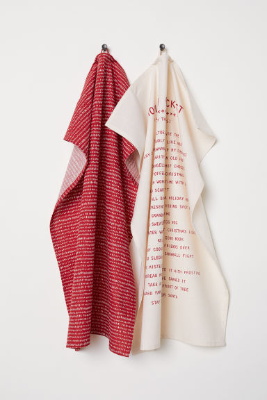 2-pack tea towels - Red/Patterned - Home All | H&M CN