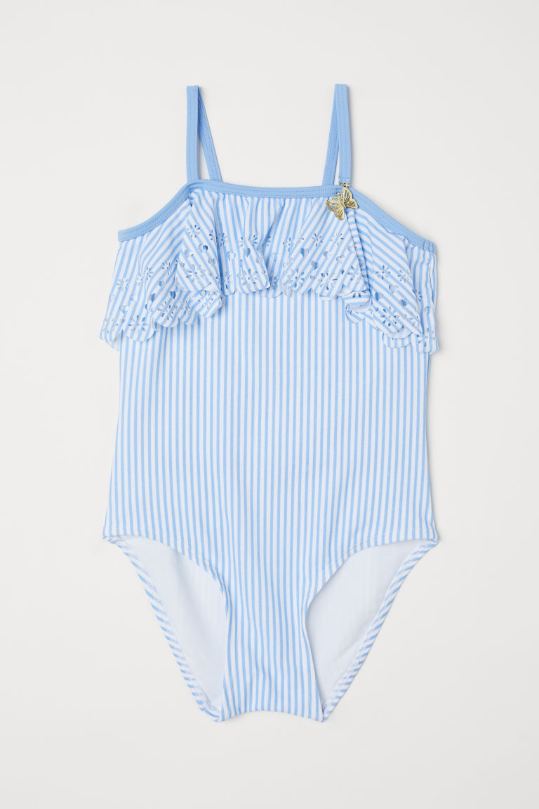 Frill-trimmed swimsuit - Light blue/White striped -  | H&M CN