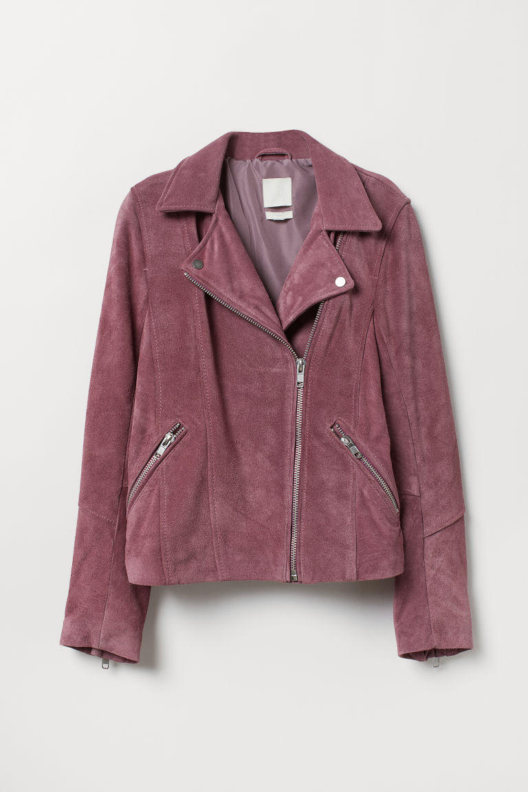 Suede biker jacket - Light heather purple - Ladies | H&M