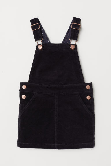 Corduroy dungaree dress - Dark blue - Kids | H&M CN