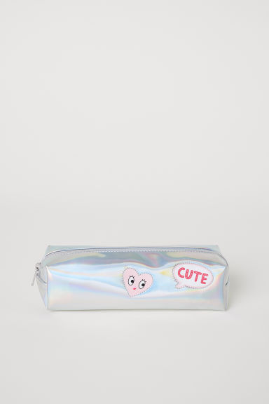 Shimmering pencil case - Silver-coloured/Holographic - Kids | H&M