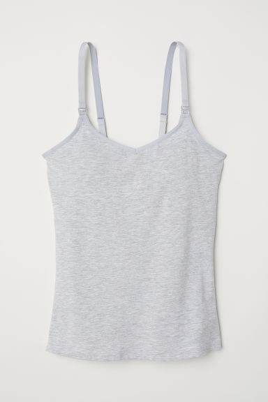 MAMA Top with integral bra - Light grey marl - Ladies | H&M