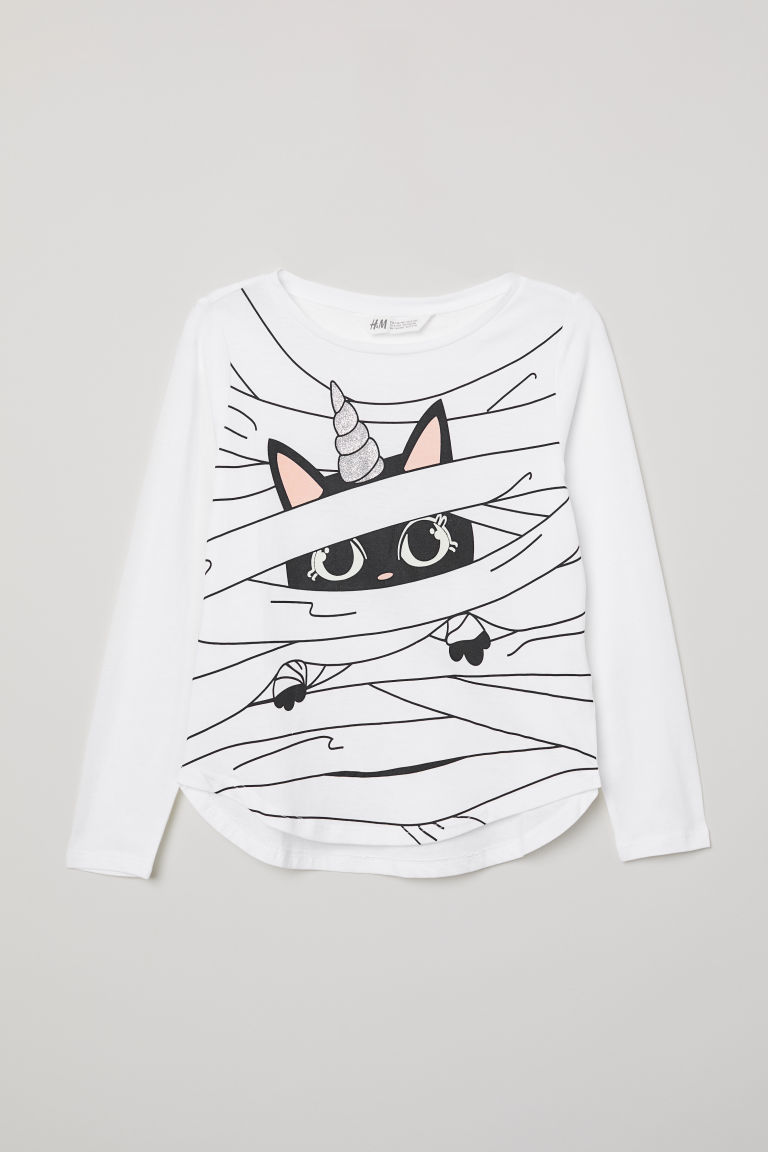 Printed top - White/Unicorn cat - Kids | H&M