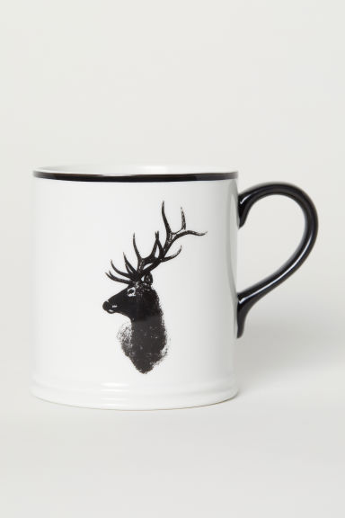 Porcelain mug - White/Deer - Home All | H&M CN