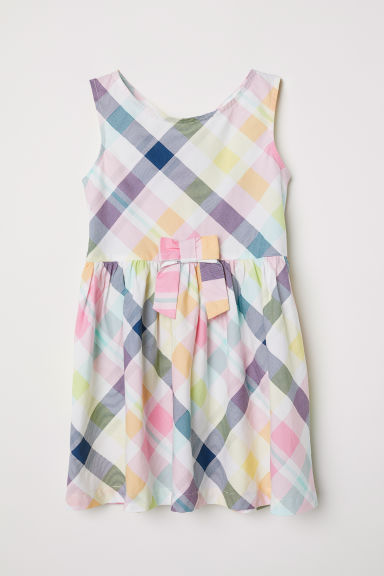 Patterned cotton dress - White/Checked - Kids | H&M