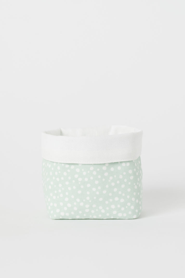 Small canvas storage basket - Mint green/Spotted - Home All | H&M CN