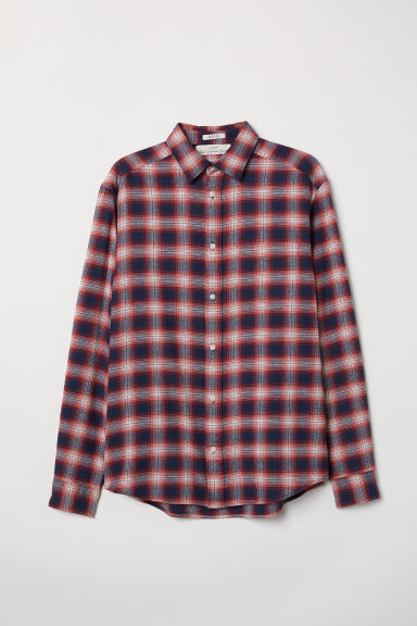 Cotton shirt Regular Fit - Dark red/Checked - Men | H&M