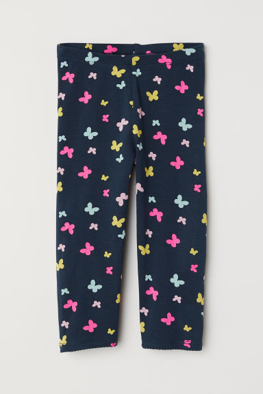 3/4-length leggings - Dark blue/Butterflies -  | H&M