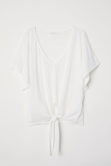 Knot-detail linen top - Natural white -  | H&M