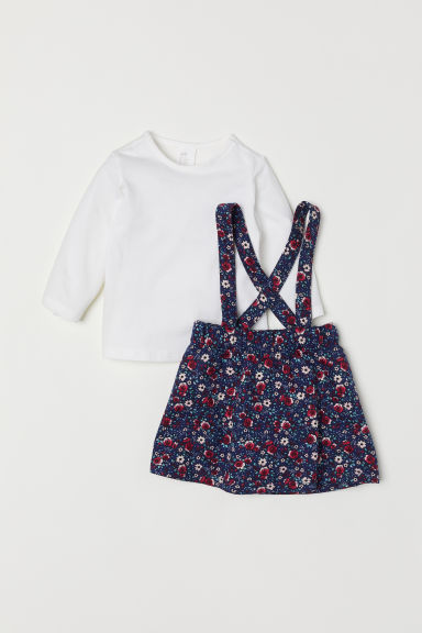 Dungaree dress and top - White/Floral - Kids | H&M