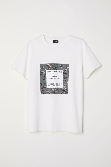 T-shirt with a motif - White - Men | H&M CN