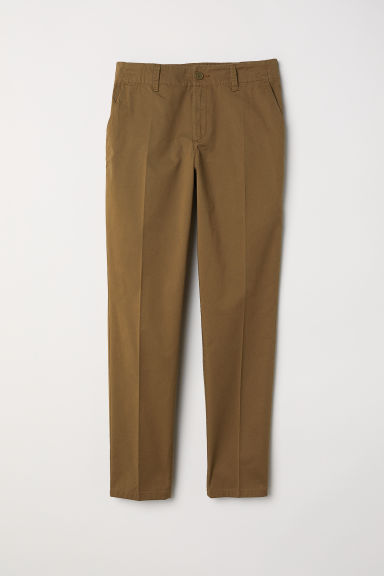 Cotton chinos - Dark khaki green - Ladies | H&M GB