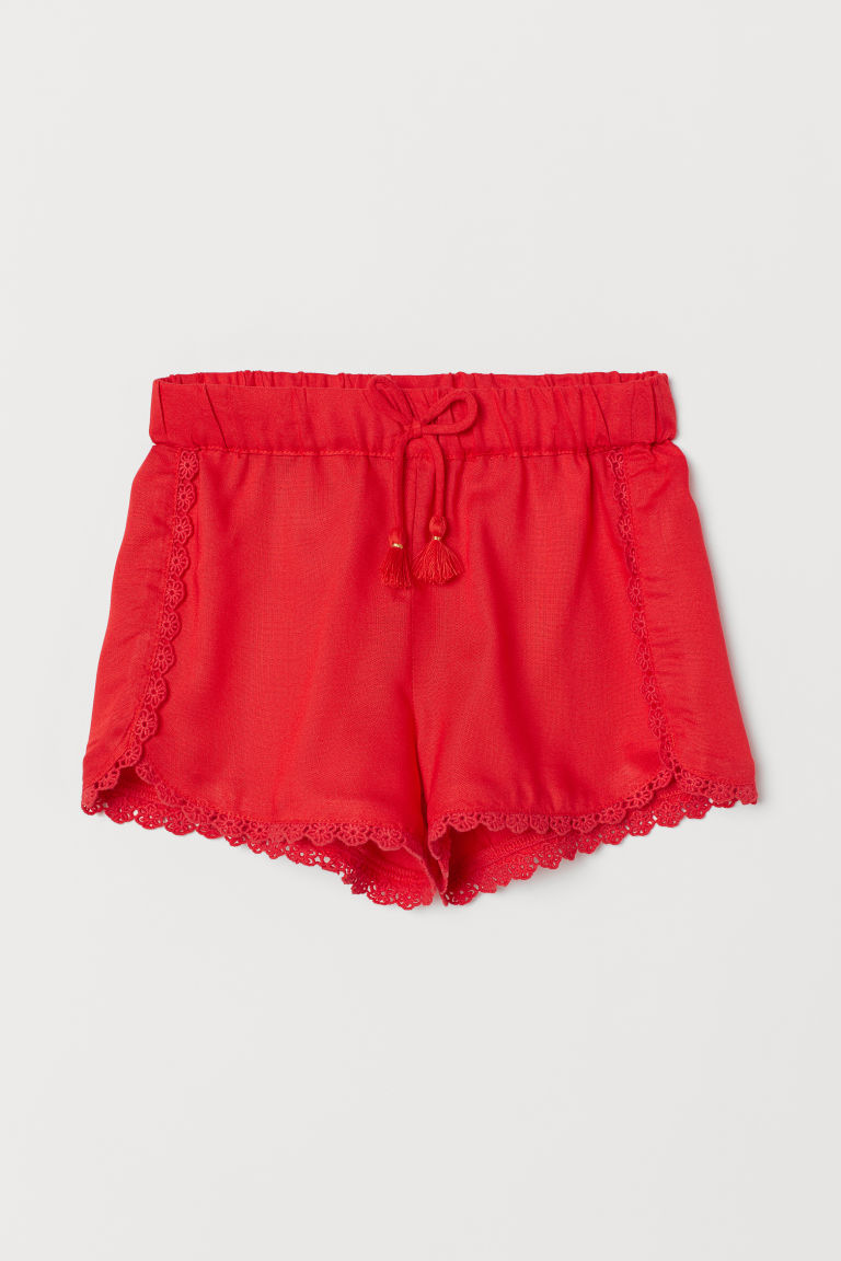 Lace-trimmed Shorts - Bright red - Kids | H&M US