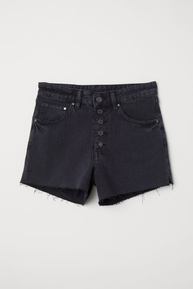 Vaquero corto Mom Fit - Negro washed out - MUJER | H&M ES