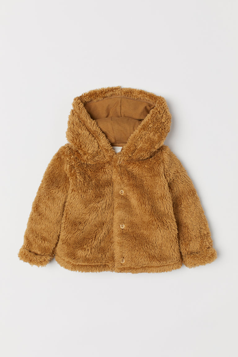 Hooded Pile Jacket - Dark beige - Kids | H&M US