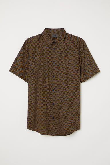 Short-sleeved shirt Slim fit - Dark blue/Patterned - HOMME | H&M FR