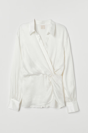 Wrapover blouse with a collar