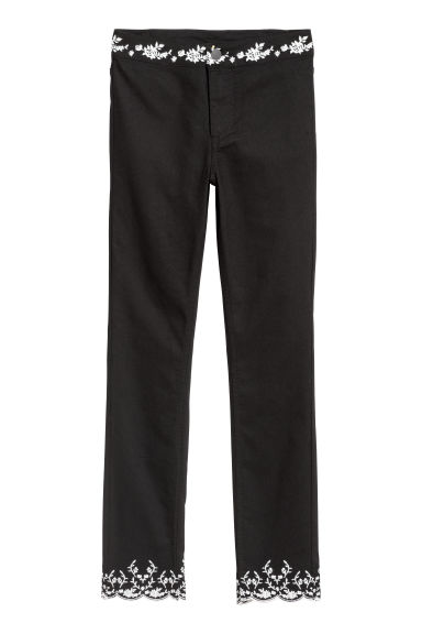 Embroidered trousers - Black - Ladies | H&M