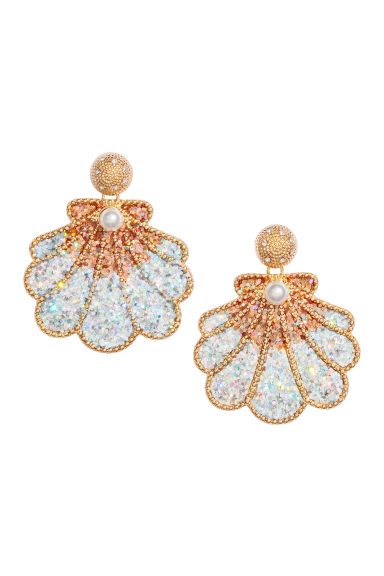 Shell-shaped earrings - Rose gold-coloured/White - Ladies | H&M