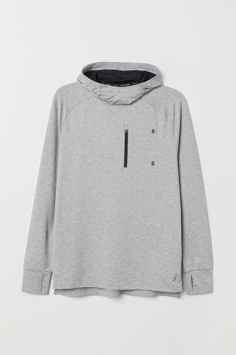 Hooded running top - Light grey marl -  | H&M IE