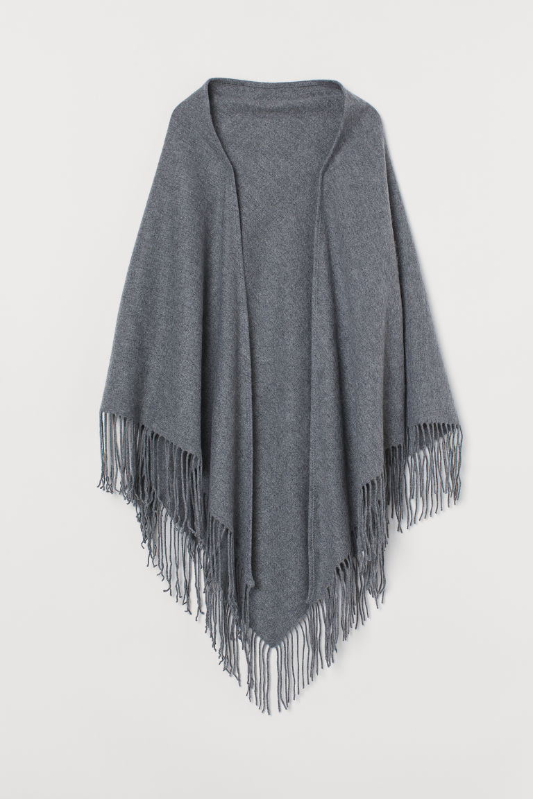 Triangular wool scarf - Grey marl - Ladies | H&M GB