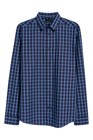 Premium cotton shirt - Dark blue/Checked - Men | H&M