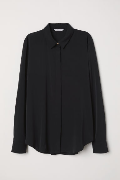 Long-sleeved blouse - Black - Ladies | H&M