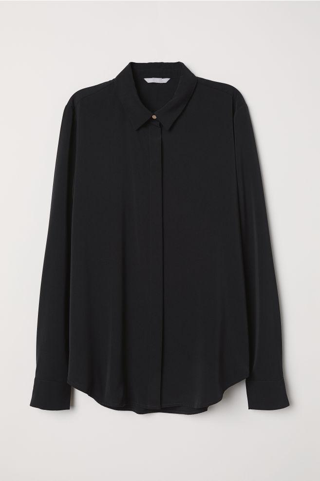 6b1098526ec929 Long-sleeved blouse - Black - Ladies