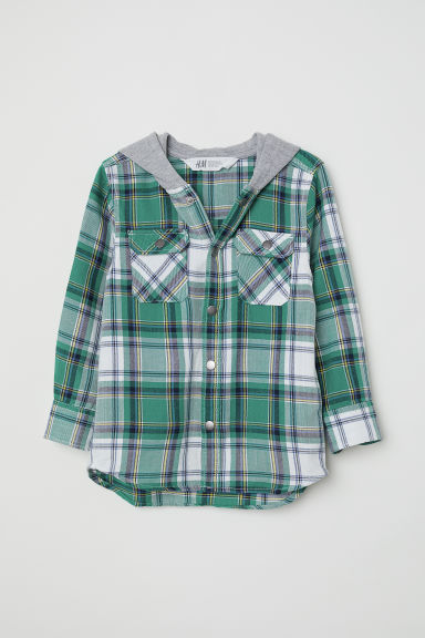 Hooded twill shirt - Dark green/Checked -  | H&M CN