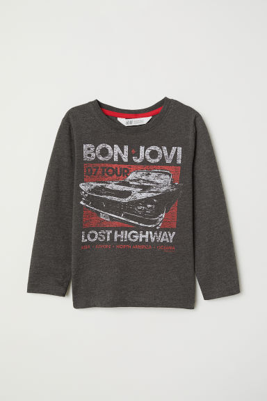 Long-sleeved top - Dark grey marl/Bon Jovi - Kids | H&M