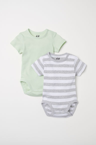 2-pack short-sleeved bodysuits - Light green/Striped - Kids | H&M