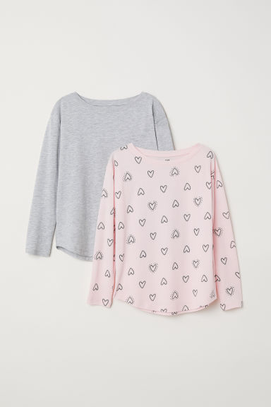 2-pack tops - Light pink/Hearts - Kids | H&M