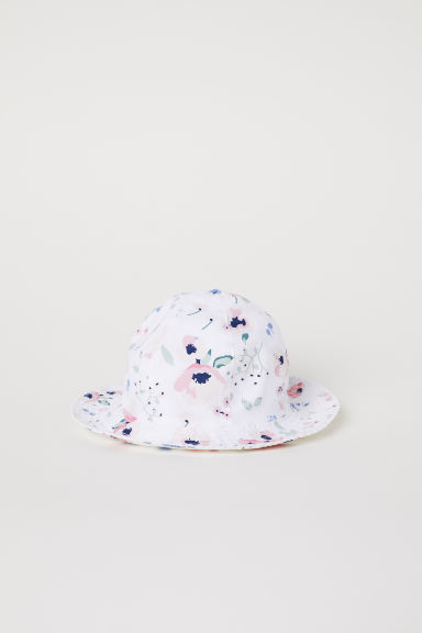 Cotton sun hat - White/Patterned - Kids | H&M CN