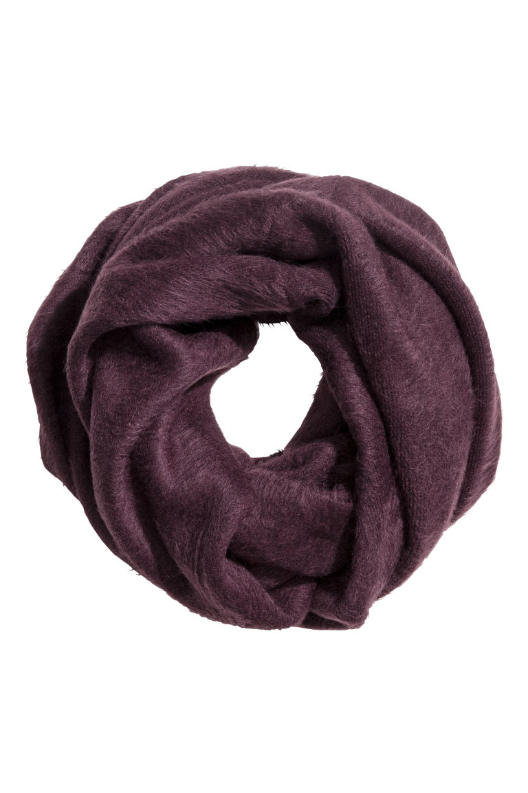 Knitted tube scarf - Plum - Ladies | H&M CN